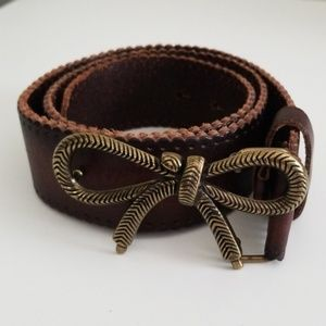 Anthropologie Metal Bow Leather Belt